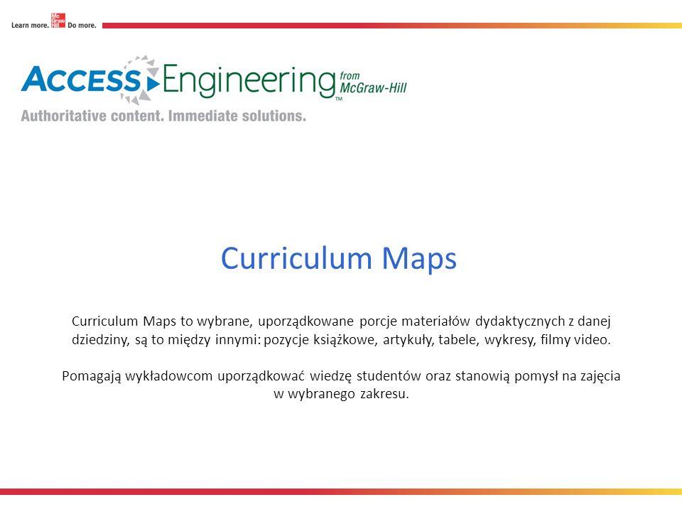 Curriculum Maps to wybrane, uporządkowane porcje materiałów dydaktycznych z danej dziedziny, są to między innymi: pozycje książkowe, artykuły, tabele, wykresy, filmy video.