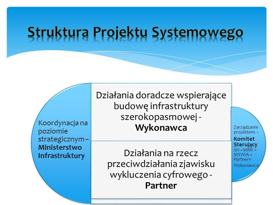 Działania doradcze wspierające budowę infrastruktury szerokopasmowej - Wykonawca Działania na rzecz przeciwdziałania zjawisku wykluczenia cyfrowego - Partner Koordynacja na poziomie strategicznym – Ministerstwo Infrastruktury Zarządzanie projektem – Komitet Sterujący MI +MRR + MSWiA + Partner+ Wykonawca