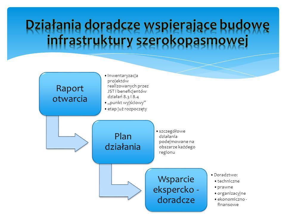 Raport otwarcia inwentaryzacja projektów realizowanych przez JST i beneficjentów działań 8.3 i 8.4 punkt wyjściowy etap już rozpoczęty Plan działania szczegółowe działania podejmowane na obszarze każdego regionu Wsparcie ekspercko - doradcze Doradztwo: techniczne prawne organizacyjne ekonomiczno - finansowe