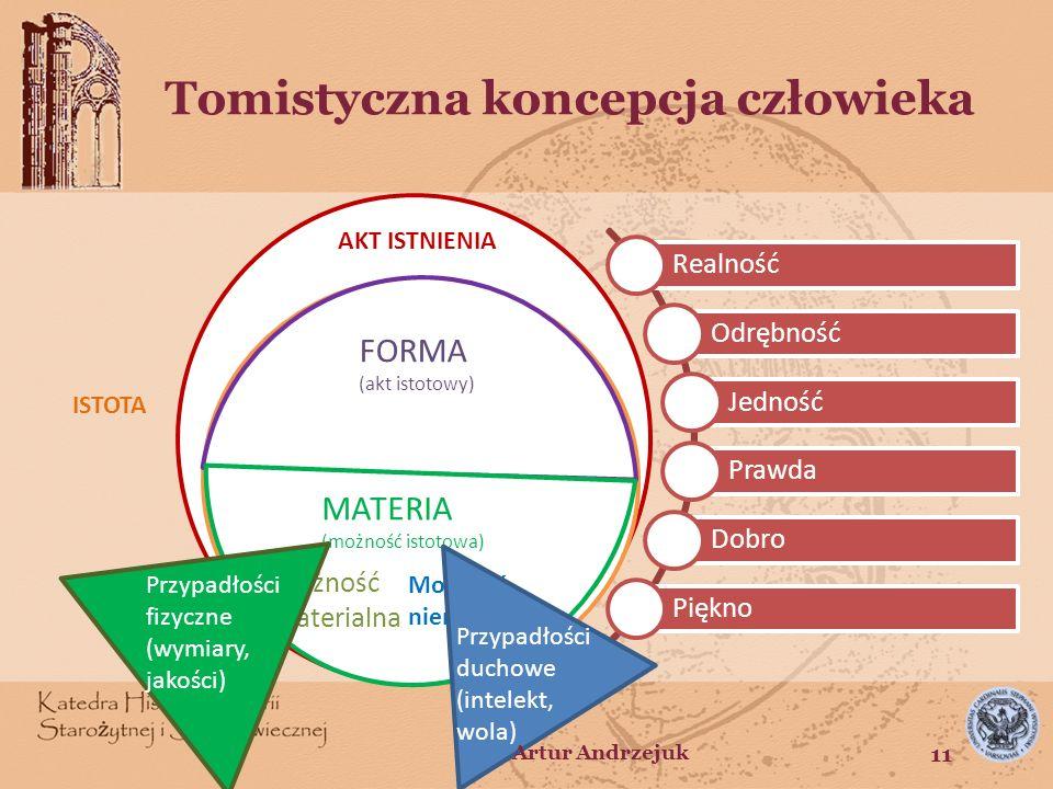ISTOTA Tomistyczna koncepcja człowieka AKT ISTNIENIA FORMA (akt istotowy) MATERIA (możność istotowa) Możność materialna Możność niematerialna ISTOTA R