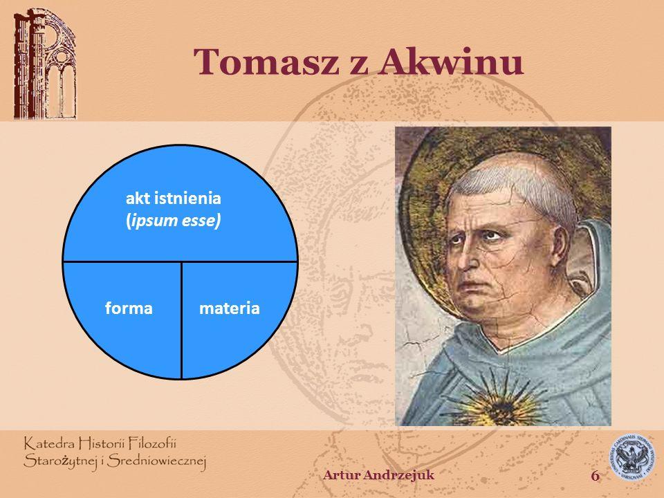 Tomistycznie ujęta struktura człowieka Człowiek w aspekcie bytu – istnienie jako akt powodujący to, że człowiek jest – istota jako możność powodująca to, czym człowiek jest Człowiek w aspekcie istoty – forma jako akt wyznacza jej stałą tożsamość – możność -niematerialna i materialna (materia) - podmiotuje przypadłości Artur Andrzejuk 7