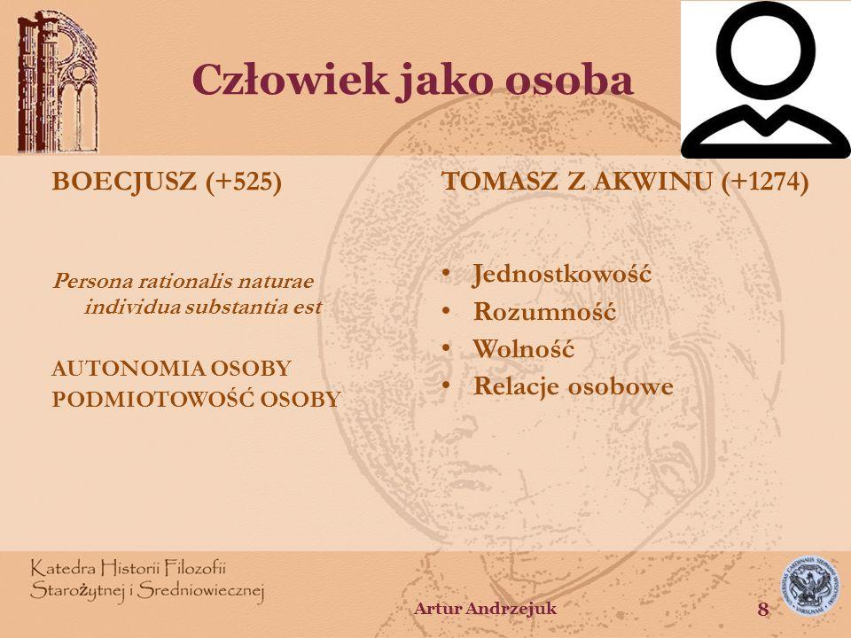 Człowiek jako osoba BOECJUSZ (+525) Persona rationalis naturae individua substantia est AUTONOMIA OSOBY PODMIOTOWOŚĆ OSOBY TOMASZ Z AKWINU (+1274) Jed