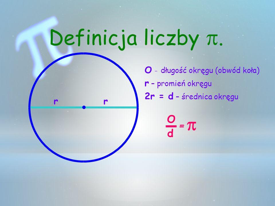 O – długość okręgu (obwód koła) r r – promień okręgu r 2r = d – średnica okręgu O d = Definicja liczby.