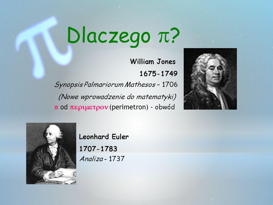 Dlaczego ? William Jones 1675-1749 Synopsis Palmariorum Mathesos – 1706 (Nowe wprowadzenie do matematyki) od (perimetron) - obwód Leonhard Euler 1707-