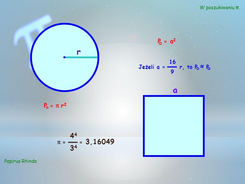 W poszukiwaniu. Papirus Rhinda r a P = r 2 P = a 2 Jeżeli a = r, to P P 16 9 4 44344434 3,16049