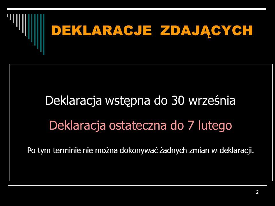 2 DEKLARACJE ZDAJĄCYCH Deklaracja wstępna do 30 września Deklaracja ostateczna do 7 lutego Po tym terminie nie można dokonywać żadnych zmian w deklara
