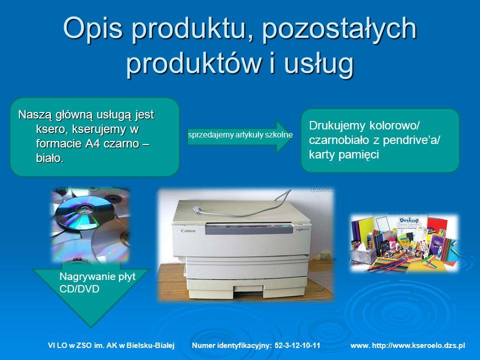 Opis produktu, pozostałych produktów i usług VI LO w ZSO im. AK w Bielsku-BiałejNumer identyfikacyjny: 52-3-12-10-11www. http://www.kseroelo.dzs.pl Na