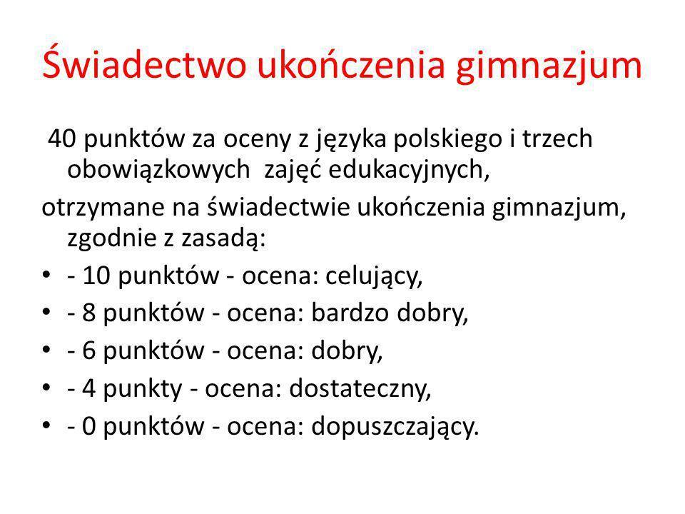 Świadectwo ukończenia gimnazjum 40 punktów za oceny z języka polskiego i trzech obowiązkowych zajęć edukacyjnych, otrzymane na świadectwie ukończenia