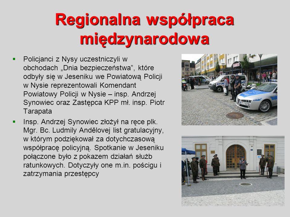 Regionalna współpraca międzynarodowa Policjanci z Nysy uczestniczyli w obchodach Dnia bezpieczeństwa, które odbyły się w Jeseniku we Powiatową Policji