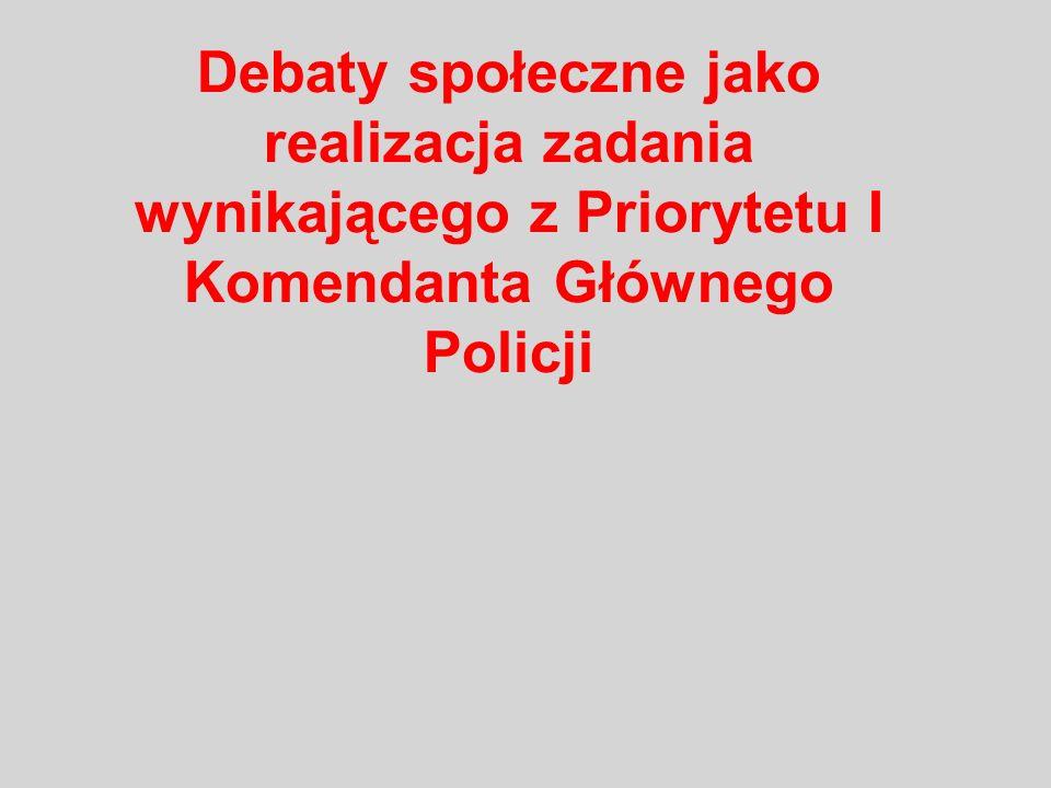 Debaty społeczne jako realizacja zadania wynikającego z Priorytetu I Komendanta Głównego Policji