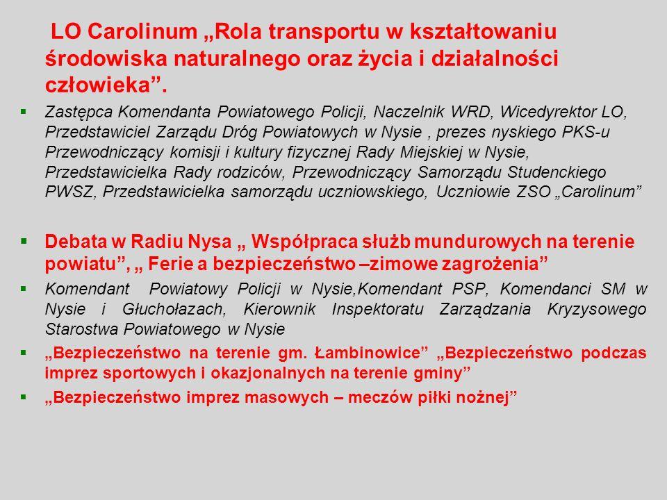 LO Carolinum Rola transportu w kształtowaniu środowiska naturalnego oraz życia i działalności człowieka. Zastępca Komendanta Powiatowego Policji, Nacz