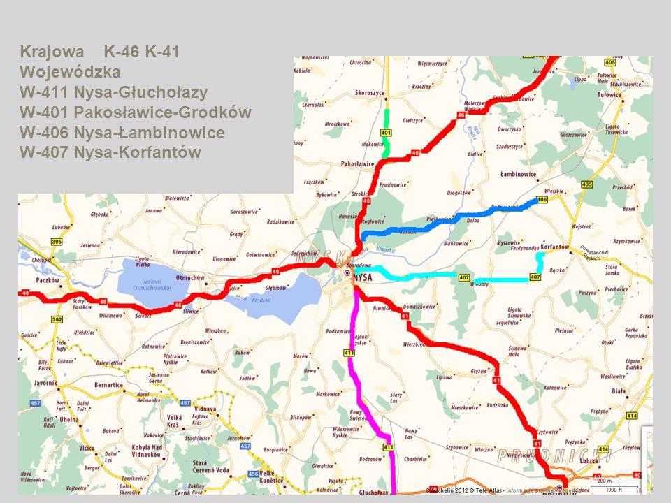 Krajowa K-46 K-41 Wojewódzka W-411 Nysa-Głuchołazy W-401 Pakosławice-Grodków W-406 Nysa-Łambinowice W-407 Nysa-Korfantów