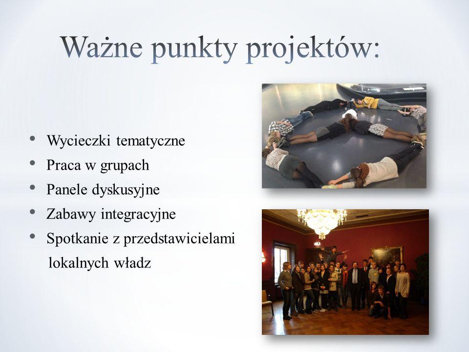 Wycieczki tematyczne Praca w grupach Panele dyskusyjne Zabawy integracyjne Spotkanie z przedstawicielami lokalnych władz
