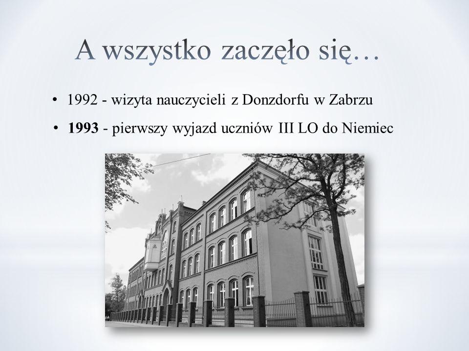 1992 - wizyta nauczycieli z Donzdorfu w Zabrzu 1993 - pierwszy wyjazd uczniów III LO do Niemiec