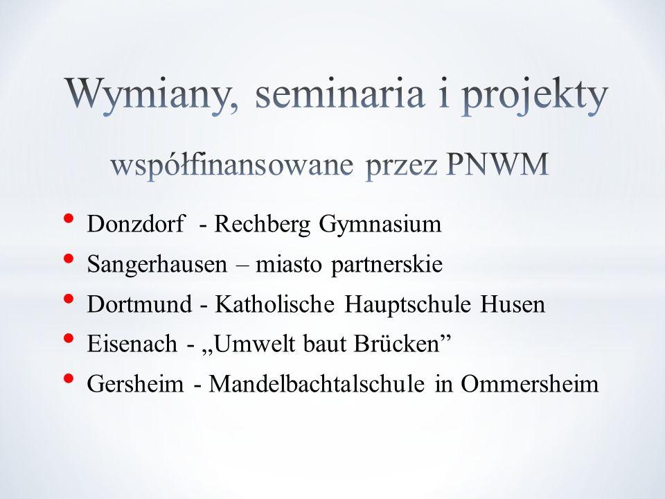 Donzdorf - Rechberg Gymnasium Sangerhausen – miasto partnerskie Dortmund - Katholische Hauptschule Husen Eisenach - Umwelt baut Brücken Gersheim - Man
