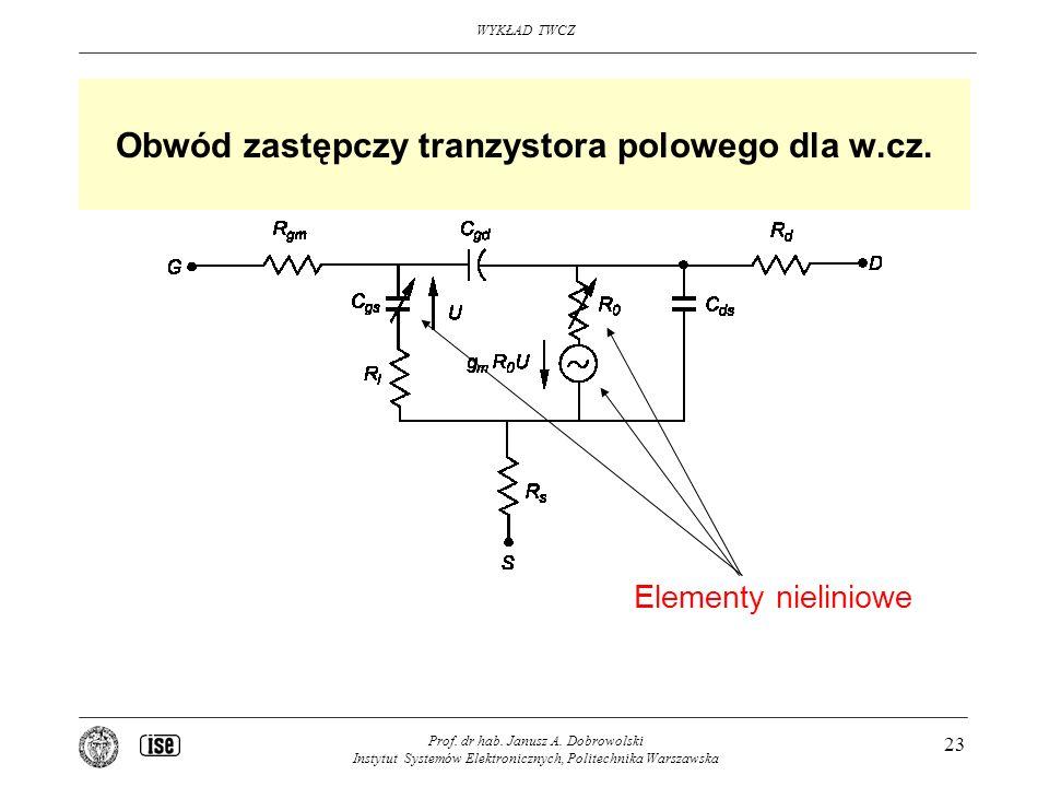 WYKŁAD TWCZ Prof. dr hab. Janusz A. Dobrowolski Instytut Systemów Elektronicznych, Politechnika Warszawska 23 Obwód zastępczy tranzystora polowego dla