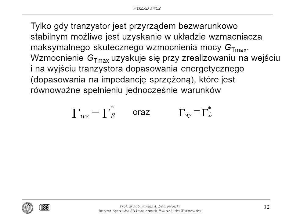WYKŁAD TWCZ Prof. dr hab. Janusz A. Dobrowolski Instytut Systemów Elektronicznych, Politechnika Warszawska 32 Tylko gdy tranzystor jest przyrządem bez