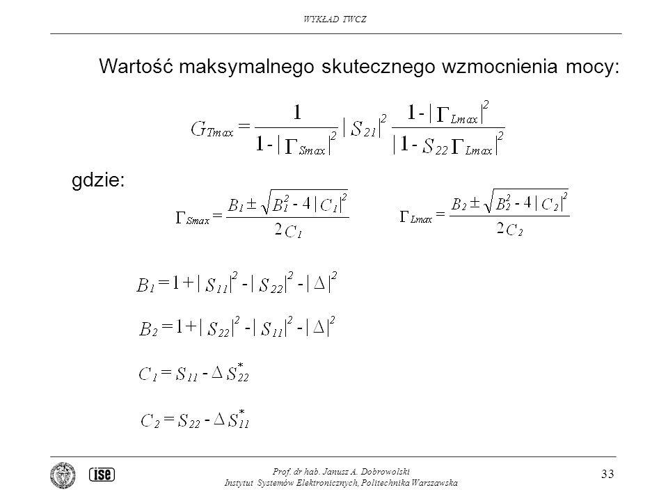 WYKŁAD TWCZ Prof. dr hab. Janusz A. Dobrowolski Instytut Systemów Elektronicznych, Politechnika Warszawska 33 Wartość maksymalnego skutecznego wzmocni