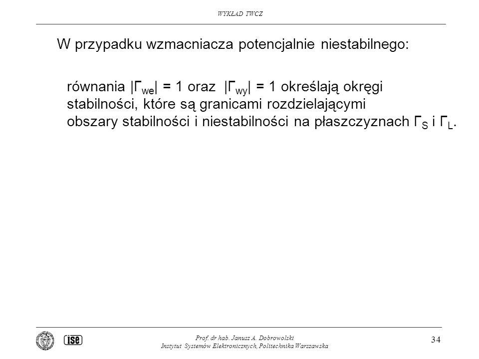 WYKŁAD TWCZ Prof. dr hab. Janusz A. Dobrowolski Instytut Systemów Elektronicznych, Politechnika Warszawska 34 W przypadku wzmacniacza potencjalnie nie