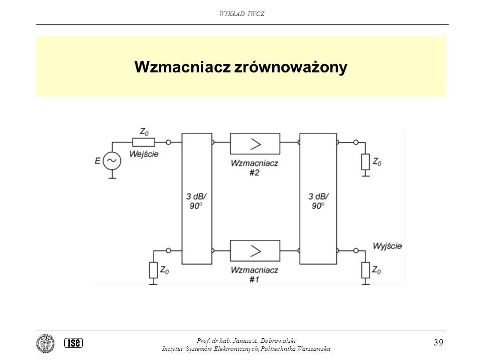 WYKŁAD TWCZ Prof. dr hab. Janusz A. Dobrowolski Instytut Systemów Elektronicznych, Politechnika Warszawska 39 Wzmacniacz zrównoważony