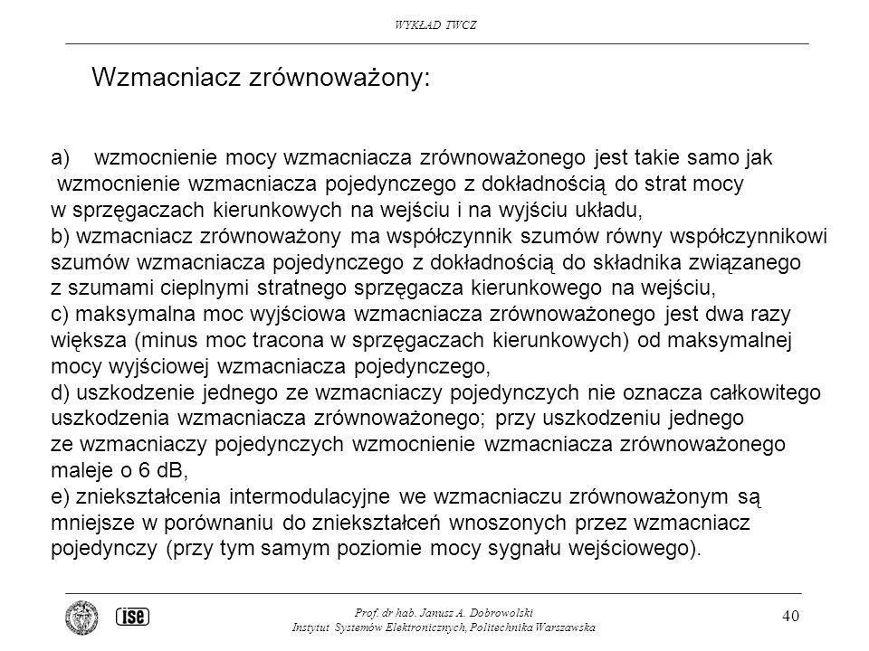 WYKŁAD TWCZ Prof. dr hab. Janusz A. Dobrowolski Instytut Systemów Elektronicznych, Politechnika Warszawska 40 a)wzmocnienie mocy wzmacniacza zrównoważ