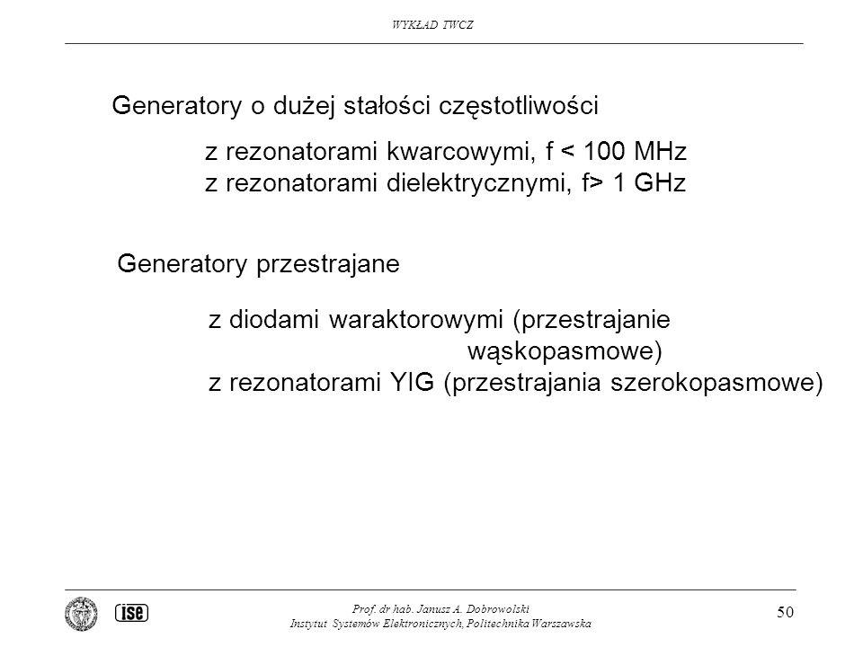 WYKŁAD TWCZ Prof. dr hab. Janusz A. Dobrowolski Instytut Systemów Elektronicznych, Politechnika Warszawska 50 Generatory o dużej stałości częstotliwoś