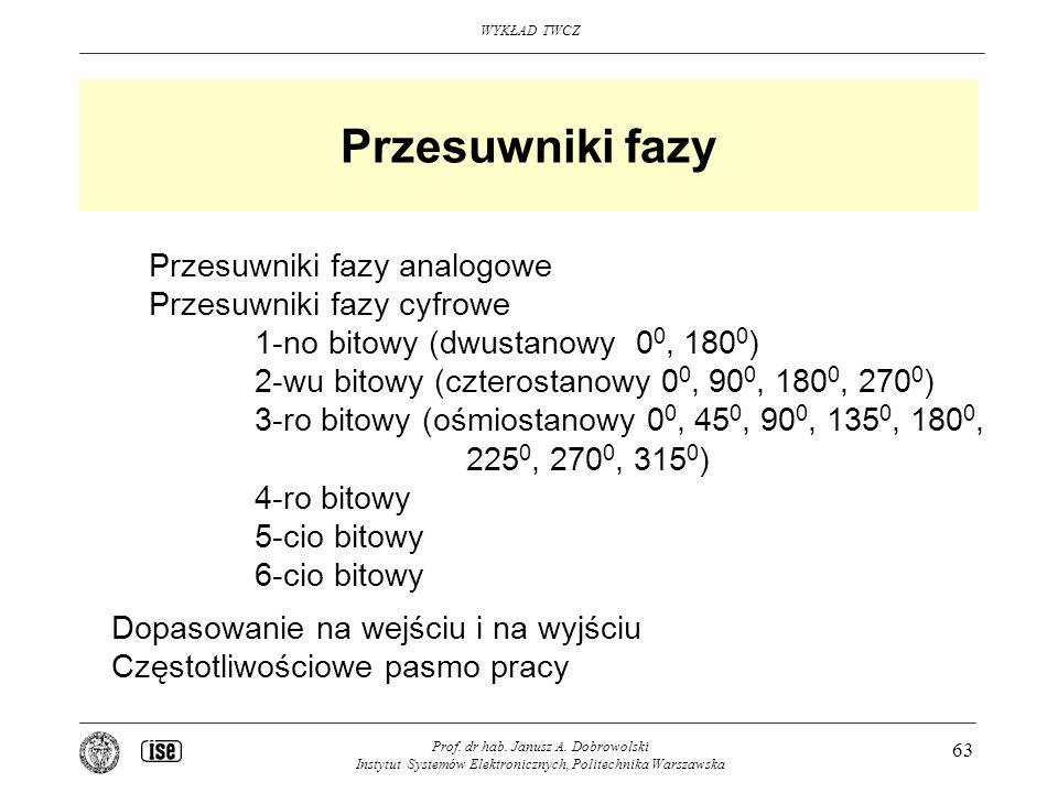 WYKŁAD TWCZ Prof. dr hab. Janusz A. Dobrowolski Instytut Systemów Elektronicznych, Politechnika Warszawska 63 Przesuwniki fazy Przesuwniki fazy analog