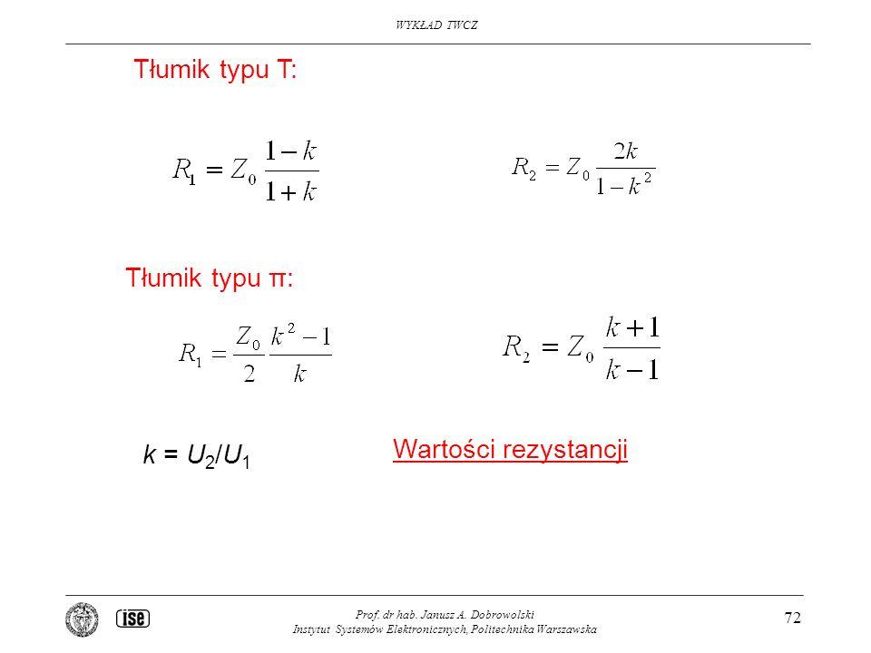 WYKŁAD TWCZ Prof. dr hab. Janusz A. Dobrowolski Instytut Systemów Elektronicznych, Politechnika Warszawska 72 Tłumik typu T: Tłumik typu π: k = U 2 /U