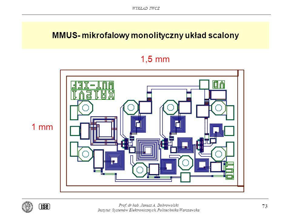 WYKŁAD TWCZ Prof. dr hab. Janusz A. Dobrowolski Instytut Systemów Elektronicznych, Politechnika Warszawska 73 MMUS- mikrofalowy monolityczny układ sca
