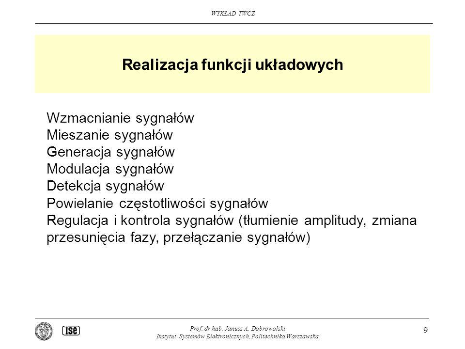 WYKŁAD TWCZ Prof. dr hab. Janusz A. Dobrowolski Instytut Systemów Elektronicznych, Politechnika Warszawska 9 Realizacja funkcji układowych Wzmacnianie