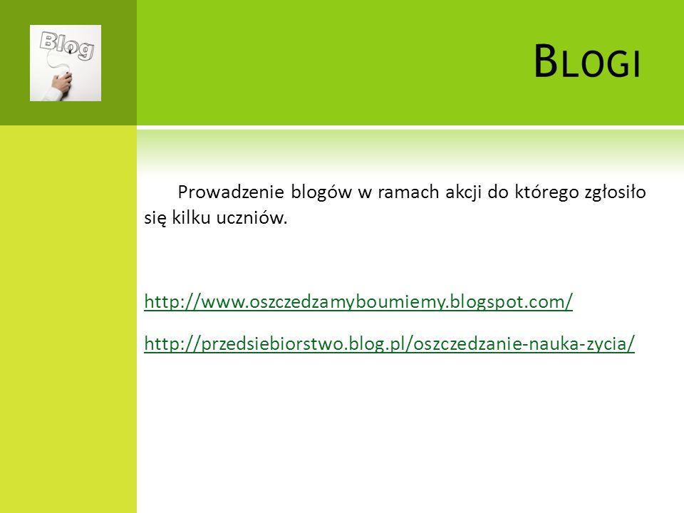 B LOGI Prowadzenie blogów w ramach akcji do którego zgłosiło się kilku uczniów.