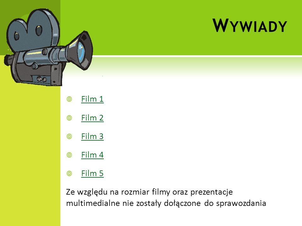 W YWIADY Film 1 Film 2 Film 3 Film 4 Film 5 Ze względu na rozmiar filmy oraz prezentacje multimedialne nie zostały dołączone do sprawozdania