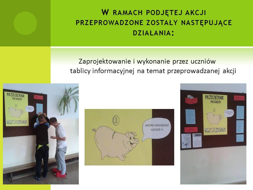 W RAMACH PODJĘTEJ AKCJI PRZEPROWADZONE ZOSTAŁY NASTĘPUJĄCE DZIAŁANIA : Zaprojektowanie i wykonanie przez uczniów tablicy informacyjnej na temat przeprowadzanej akcji