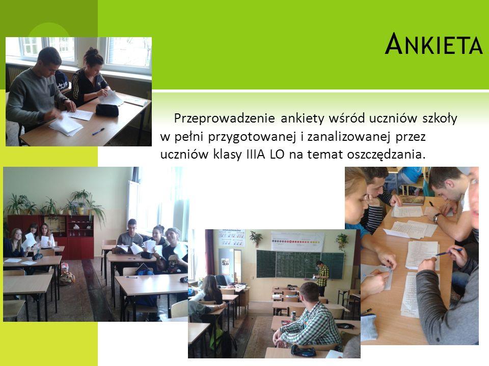 A NKIETA Przeprowadzenie ankiety wśród uczniów szkoły w pełni przygotowanej i zanalizowanej przez uczniów klasy IIIA LO na temat oszczędzania.