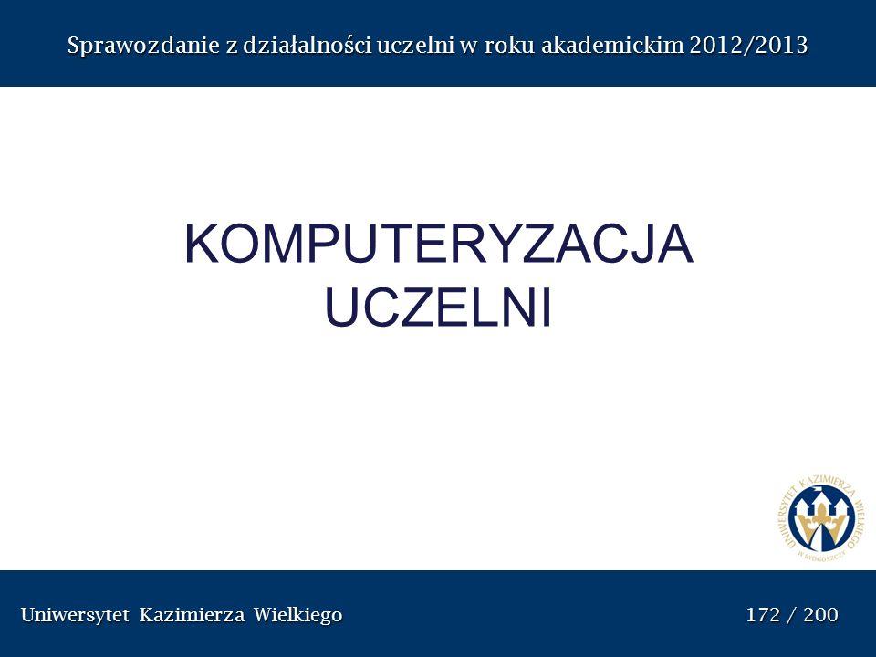 Uniwersytet Kazimierza Wielkiego 172 / 200 Uniwersytet Kazimierza Wielkiego 172 / 200 Sprawozdanie z dzia ł alno ś ci uczelni w roku akademickim 2012/
