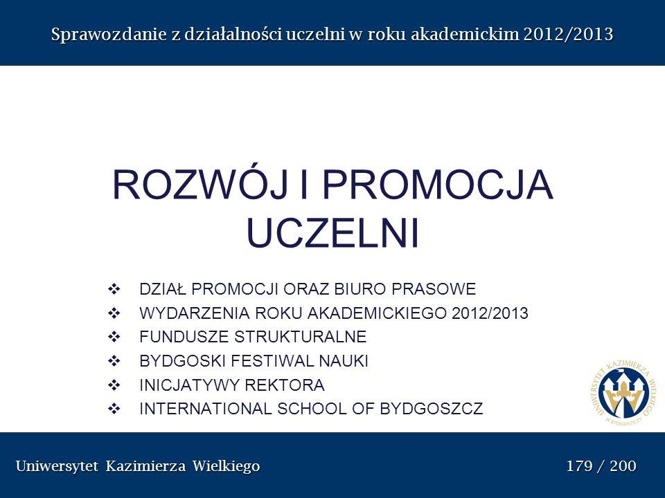 Uniwersytet Kazimierza Wielkiego 179 / 200 Uniwersytet Kazimierza Wielkiego 179 / 200 Sprawozdanie z dzia ł alno ś ci uczelni w roku akademickim 2012/