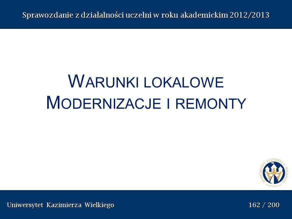 Uniwersytet Kazimierza Wielkiego 162 / 200 Uniwersytet Kazimierza Wielkiego 162 / 200 Sprawozdanie z dzia ł alno ś ci uczelni w roku akademickim 2012/