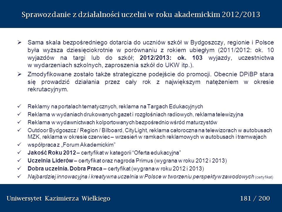 Sprawozdanie z dzia ł alno ś ci uczelni w roku akademickim 2012/2013 Sama skala bezpośredniego dotarcia do uczniów szkół w Bydgoszczy, regionie i Pols