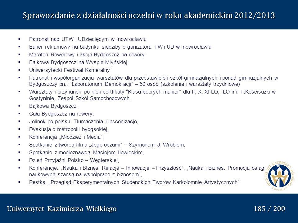 Uniwersytet Kazimierza Wielkiego 185 / 200 Uniwersytet Kazimierza Wielkiego 185 / 200 Sprawozdanie z dzia ł alno ś ci uczelni w roku akademickim 2012/