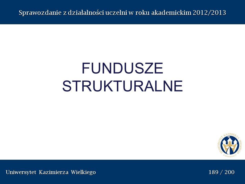 Uniwersytet Kazimierza Wielkiego 189 / 200 Uniwersytet Kazimierza Wielkiego 189 / 200 Sprawozdanie z dzia ł alno ś ci uczelni w roku akademickim 2012/