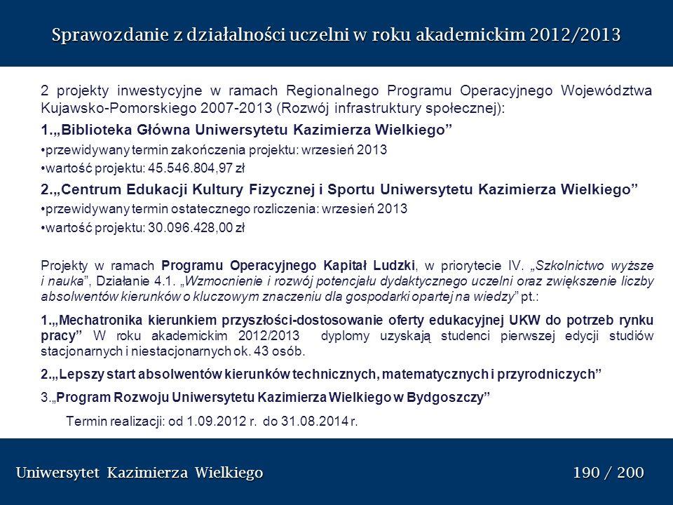 Uniwersytet Kazimierza Wielkiego 190 / 200 Uniwersytet Kazimierza Wielkiego 190 / 200 Sprawozdanie z dzia ł alno ś ci uczelni w roku akademickim 2012/