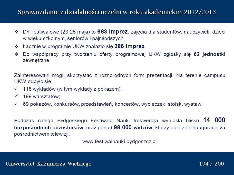 Uniwersytet Kazimierza Wielkiego 194 / 200 Uniwersytet Kazimierza Wielkiego 194 / 200 Sprawozdanie z dzia ł alno ś ci uczelni w roku akademickim 2012/