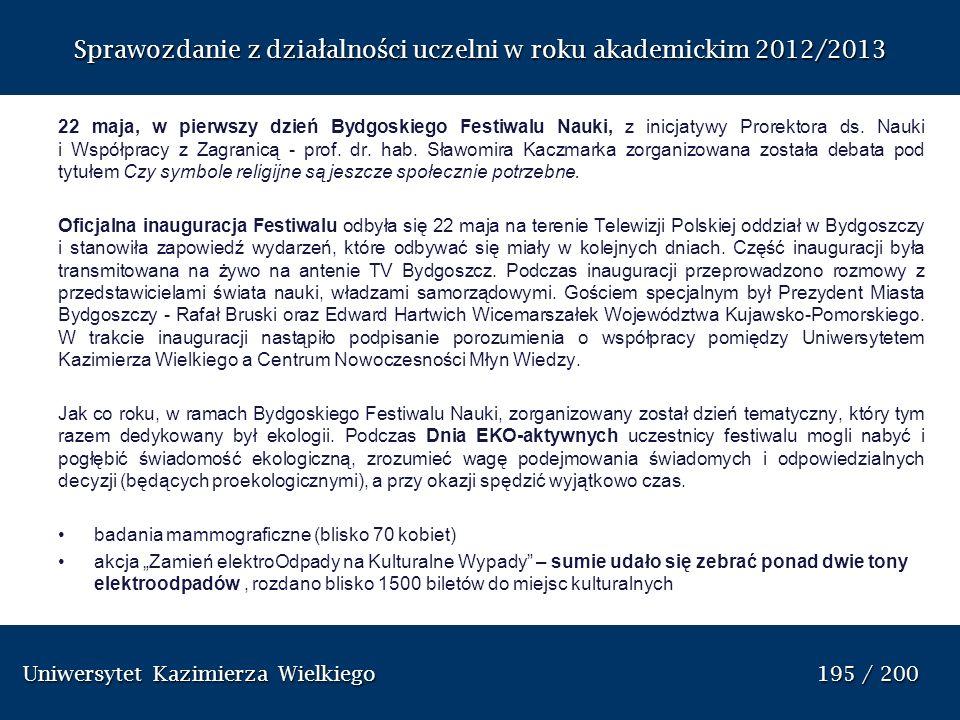 Uniwersytet Kazimierza Wielkiego 195 / 200 Uniwersytet Kazimierza Wielkiego 195 / 200 Sprawozdanie z dzia ł alno ś ci uczelni w roku akademickim 2012/