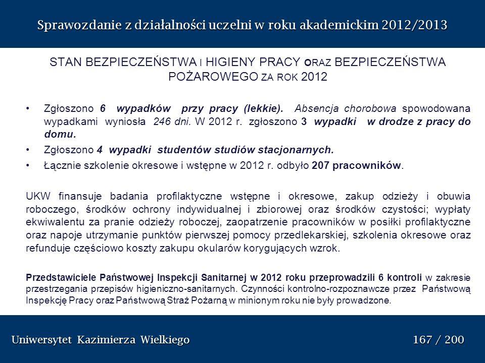 Sprawozdanie z dzia ł alno ś ci uczelni w roku akademickim 2012/2013 STAN BEZPIECZEŃSTWA I HIGIENY PRACY ORAZ BEZPIECZEŃSTWA POŻAROWEGO ZA ROK 2012 Zg