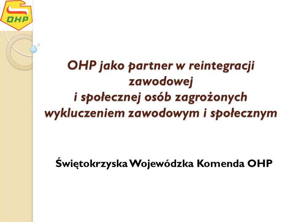 OHP jako partner w reintegracji zawodowej i społecznej osób zagrożonych wykluczeniem zawodowym i społecznym Świętokrzyska Wojewódzka Komenda OHP