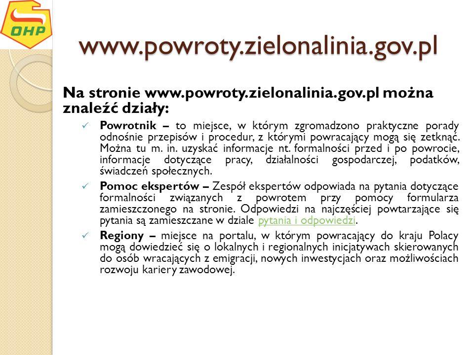 www.powroty.zielonalinia.gov.pl Na stronie www.powroty.zielonalinia.gov.pl można znaleźć działy: Powrotnik – to miejsce, w którym zgromadzono praktycz