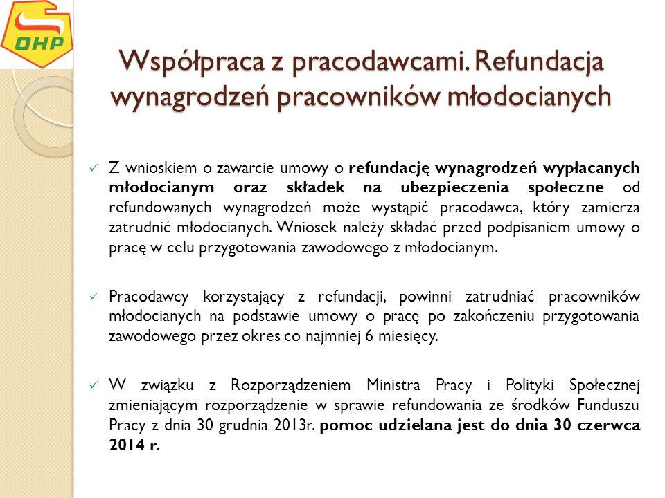 Współpraca z pracodawcami. Refundacja wynagrodzeń pracowników młodocianych Z wnioskiem o zawarcie umowy o refundację wynagrodzeń wypłacanych młodocian