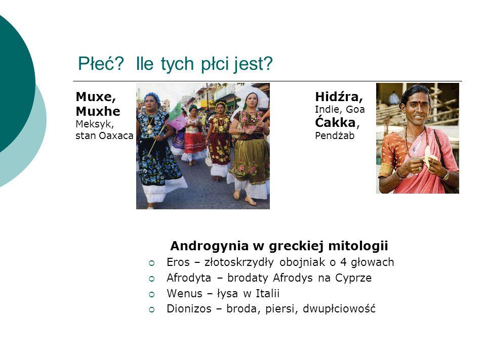 Płeć? Ile tych płci jest? Androgynia w greckiej mitologii Eros – złotoskrzydły obojniak o 4 głowach Afrodyta – brodaty Afrodys na Cyprze Wenus – łysa