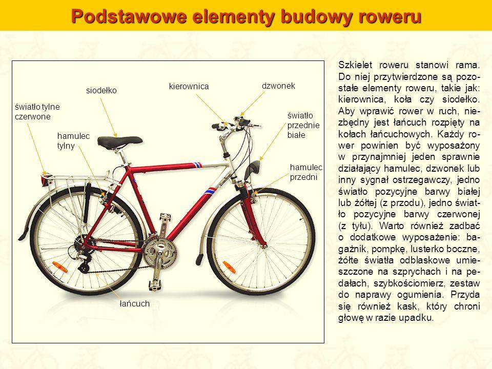 Szkielet roweru stanowi rama. Do niej przytwierdzone są pozo- stałe elementy roweru, takie jak: kierownica, koła czy siodełko. Aby wprawić rower w ruc
