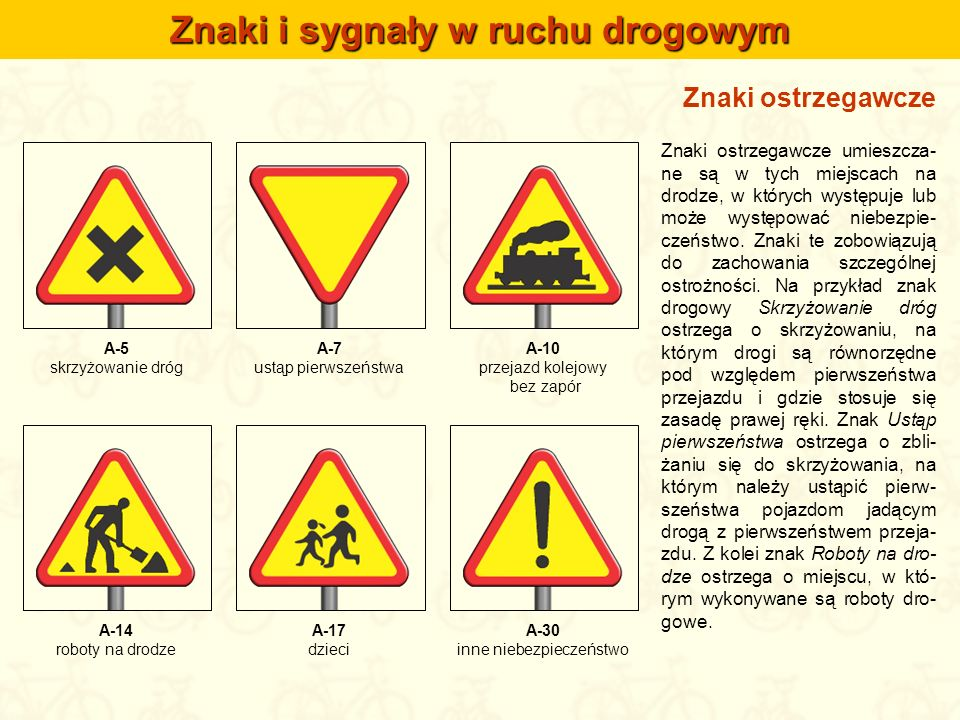 Znaki i sygnały w ruchu drogowym Znaki ostrzegawcze umieszcza- ne są w tych miejscach na drodze, w których występuje lub może występować niebezpie- cz